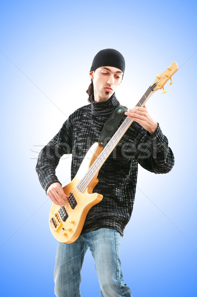 Gitarist geïsoleerd witte muziek partij achtergrond Stockfoto © Elnur