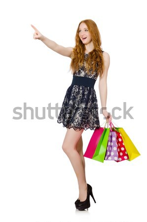 Woman in dark green floral dress isolated on white Stock photo © Elnur