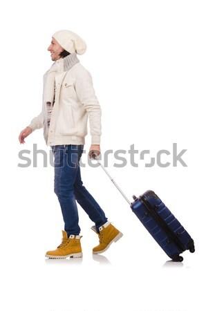 Człowiek zimą wakacje biznesmen podróży spaceru Zdjęcia stock © Elnur