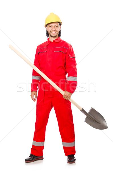 Hombre rojo pala trabajo jardín industria Foto stock © Elnur