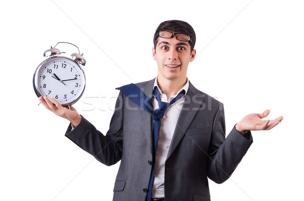 Homem relógio prazo de entrega isolado homem branco Foto stock © Elnur