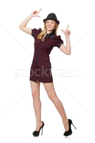 Mujer gangster aislado blanco nina mano Foto stock © Elnur