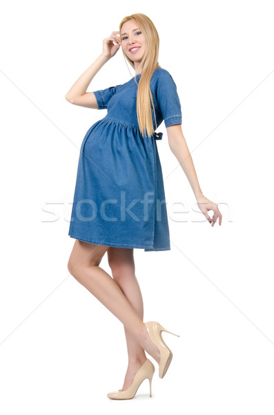 Beautiful pregnant woman in blue dress isolated on white Stock photo © Elnur