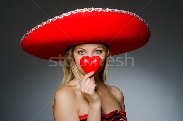 Nő visel szombréró kalap vicces esküvő Stock fotó © Elnur