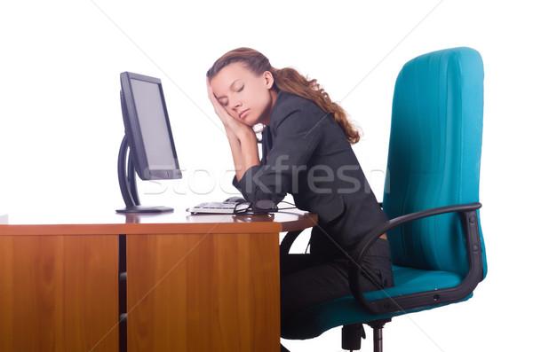 álmos nő alszik asztal üzlet számítógép Stock fotó © Elnur