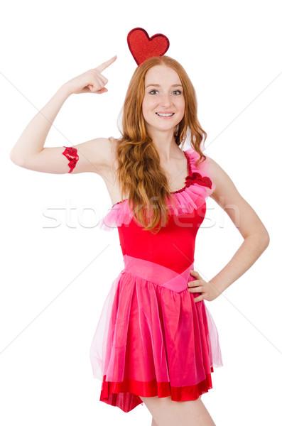Bastante jovem modelo mini rosa vestir Foto stock © Elnur