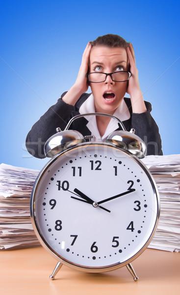 женщину деловая женщина гигант будильник часы работу Сток-фото © Elnur