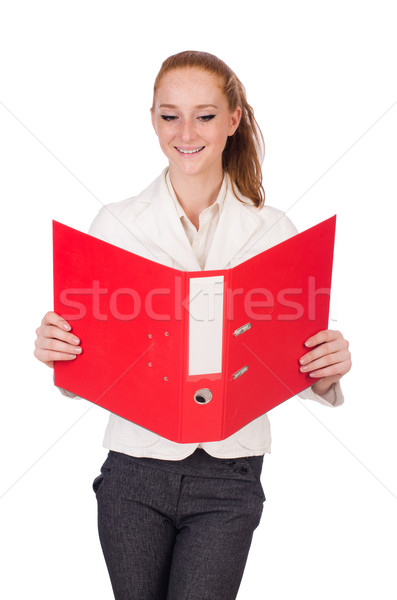 Red hair girl holding paper isolated on white Stock photo © Elnur
