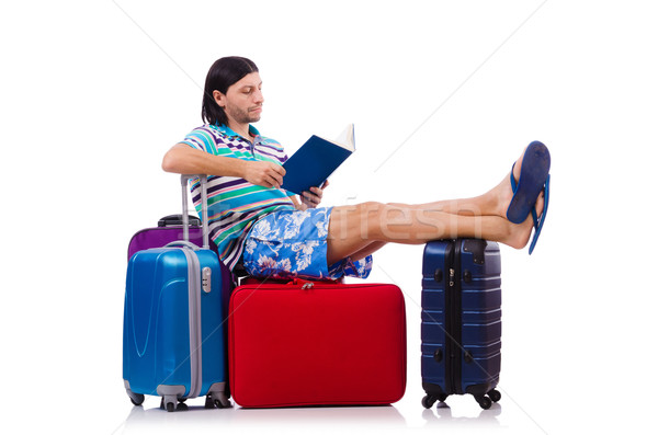 Tourist with bags isolated on white Stock photo © Elnur