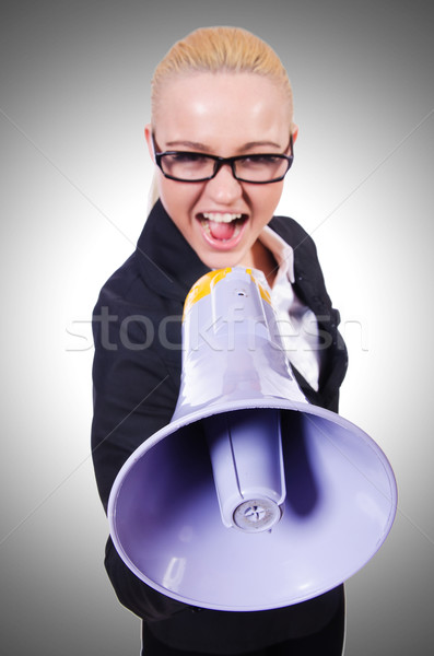 Nő üzletasszony hangfal fehér üzlet iroda Stock fotó © Elnur