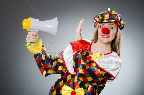 Clown with loudspeaker isolated on white Stock photo © Elnur