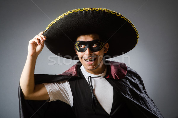 Stock photo: Person wearing sombrero hat in funny concept