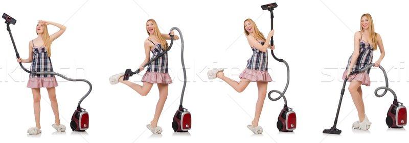 Fiatal nő porszívó fehér ház lány boldog Stock fotó © Elnur