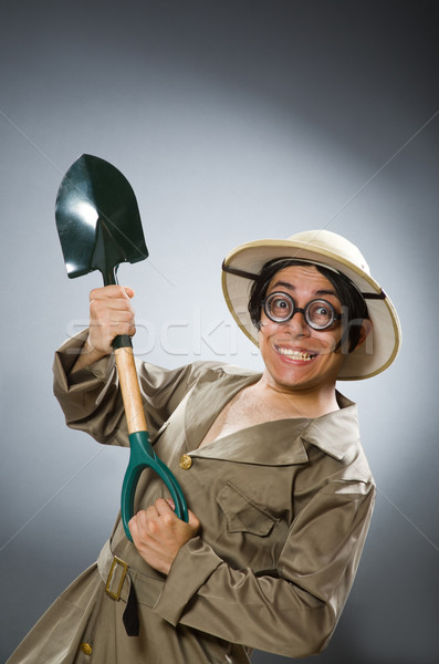 Funny man with the spade Stock photo © Elnur