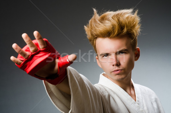 Grappig bokser donkere hand achtergrond vak Stockfoto © Elnur
