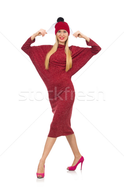 Woman in bordo dress isolated on white Stock photo © Elnur