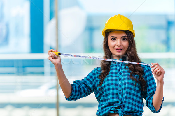 Young woman doing home improvements Stock photo © Elnur