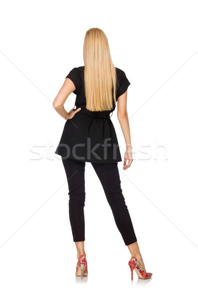 Stockfoto: Vrouw · klassiek · zwarte · vest · geïsoleerd · witte