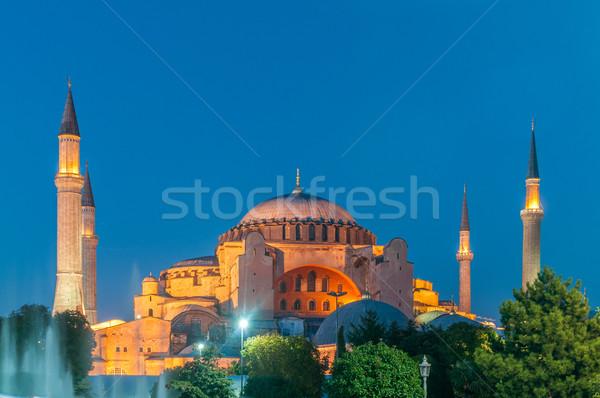 Célèbre mosquée ville Istanbul coucher du soleil Photo stock © Elnur
