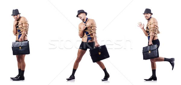 Engraçado nu empresário isolado branco negócio Foto stock © Elnur