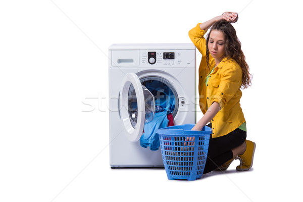 The woman tired after doing laundry isolated on white Stock photo © Elnur