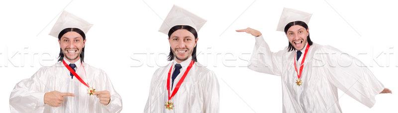 Jonge man klaar universiteit afstuderen papier student Stockfoto © Elnur