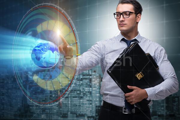 Geschäftsmann global Business Business Büro Hand Welt Stock foto © Elnur