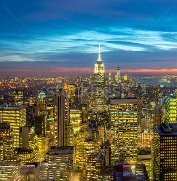 Stockfoto: Nieuwe · Manhattan · zonsondergang · business · hemel