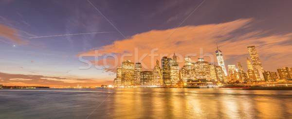 Vista bajar Manhattan negocios manzana noche Foto stock © Elnur