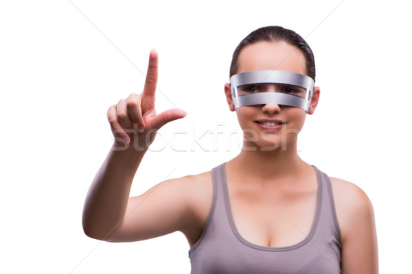 Woman with techno glasses isolated on white Stock photo © Elnur