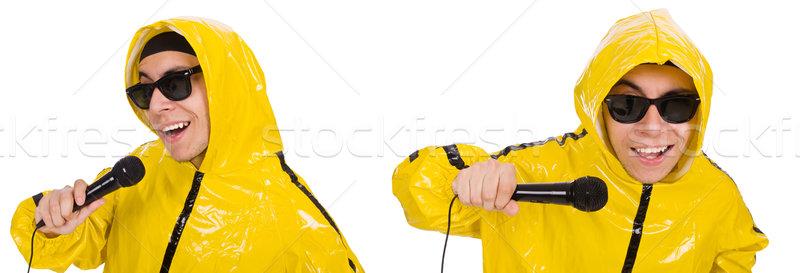 Vicces előadó izolált fehér tánc mikrofon Stock fotó © Elnur