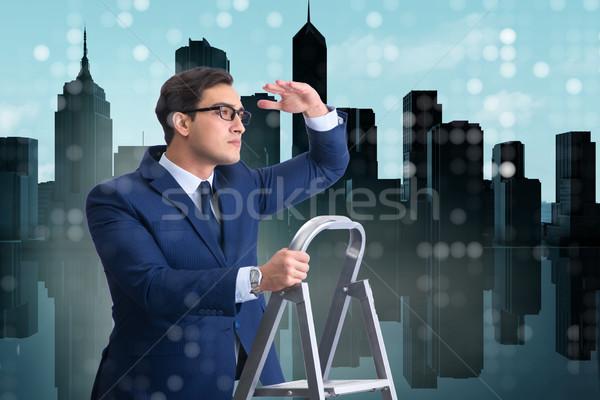 üzletember mászik létra üzlet iroda épület Stock fotó © Elnur