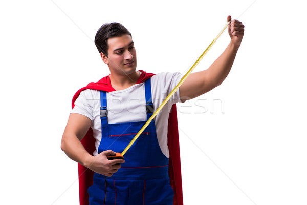 Szuperhős szerelő izolált fehér férfi munka Stock fotó © Elnur