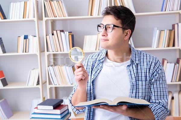 Fiatal diák könyvek vizsgák könyv férfi Stock fotó © Elnur