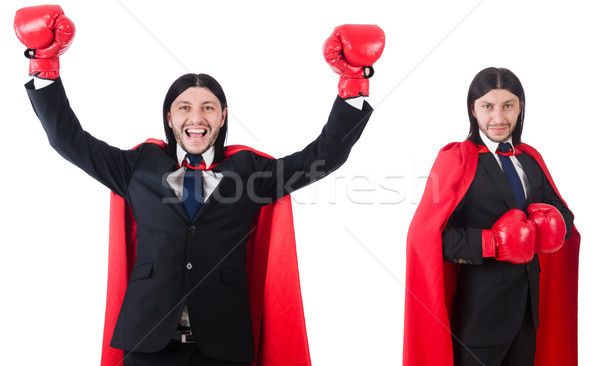 Jeunes affaires boxeur isolé blanche costume Photo stock © Elnur