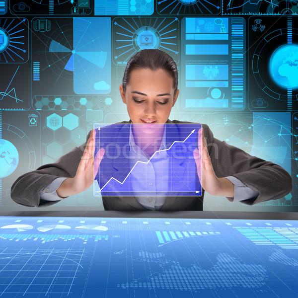 Imprenditore futuristico di trading donna mano lavoro Foto d'archivio © Elnur