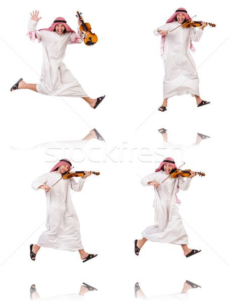 Arab man playing violing on white Stock photo © Elnur
