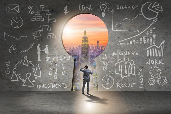 ビジネスマン 立って 前方後円墳 成功 金融 アイデア ストックフォト © Elnur