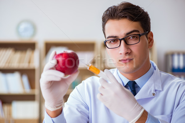 The scientist working on organic fruits and vegetables Stock photo © Elnur