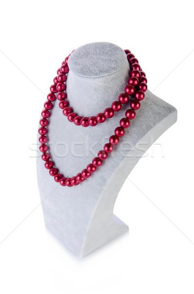 Foto stock: Pérola · colar · isolado · branco · abstrato · fundo