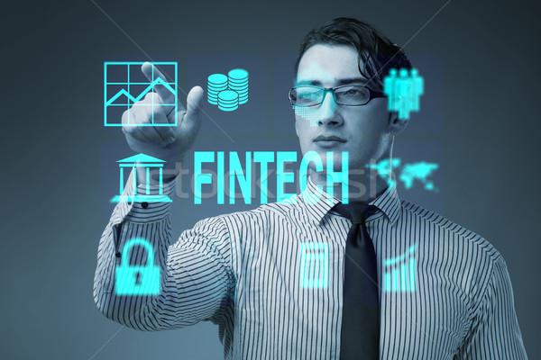 Stock fotó: üzletember · kisajtolás · gombok · számítógép · pénz · technológia