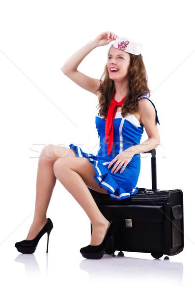 女性 船乗り スーツケース 白 笑顔 ファッション ストックフォト © Elnur
