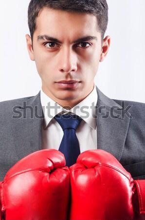 Vesztes üzletember boxkesztyűk üzlet iroda munka Stock fotó © Elnur
