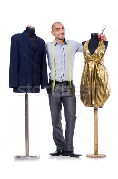 Terzi yalıtılmış beyaz adam moda çalışmak Stok fotoğraf © Elnur