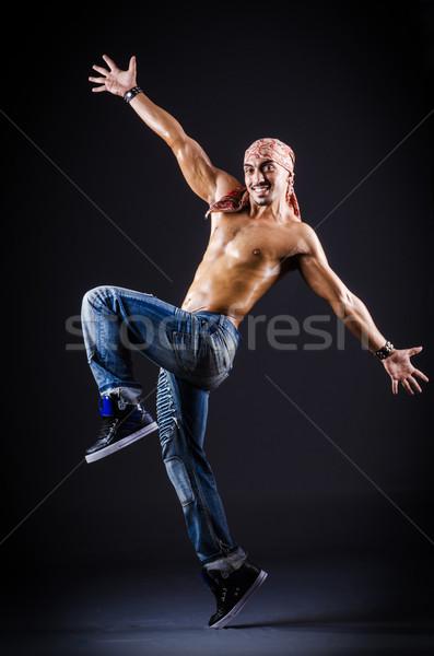 Táncos tánc sötét stúdió férfi divat Stock fotó © Elnur