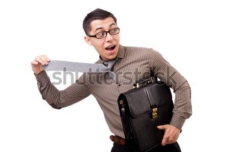 Funny businessman with gun on white Stock photo © Elnur