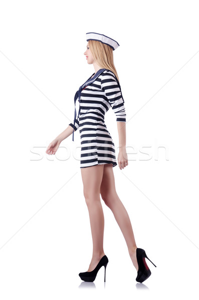 Kobieta marynarz odizolowany biały uśmiech moda Zdjęcia stock © Elnur