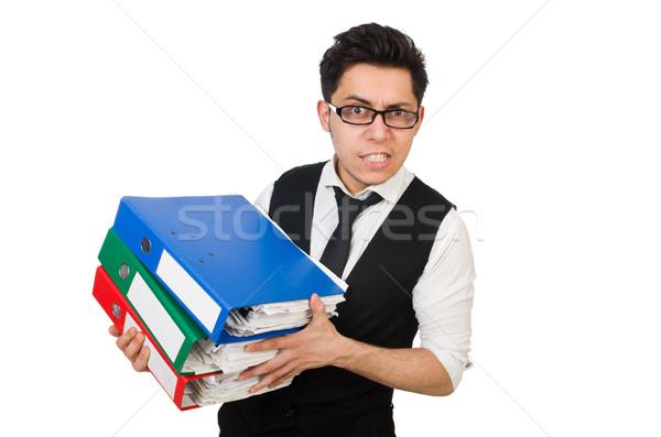 Funny człowiek biały działalności papieru Zdjęcia stock © Elnur