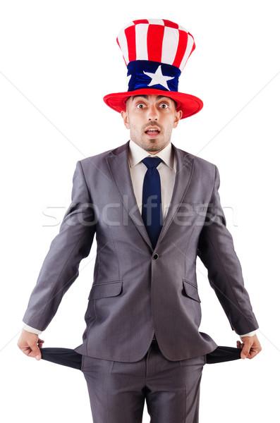 Stockfoto: Man · amerikaanse · hoed · vragen · geld · gelukkig