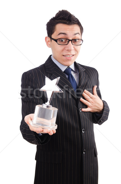 Funny guy receiving award on white Stock photo © Elnur